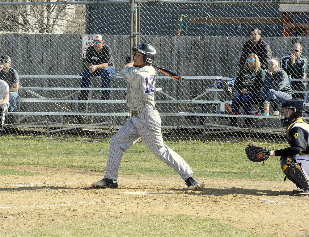 . Mountain View\'s T.J. Mendoza watches the flight of his two-run double to left in the second inning of Monday\'s game with Thompson Valley at Constantz Field. (Mike Brohard/Loveland Reporter-Herald)