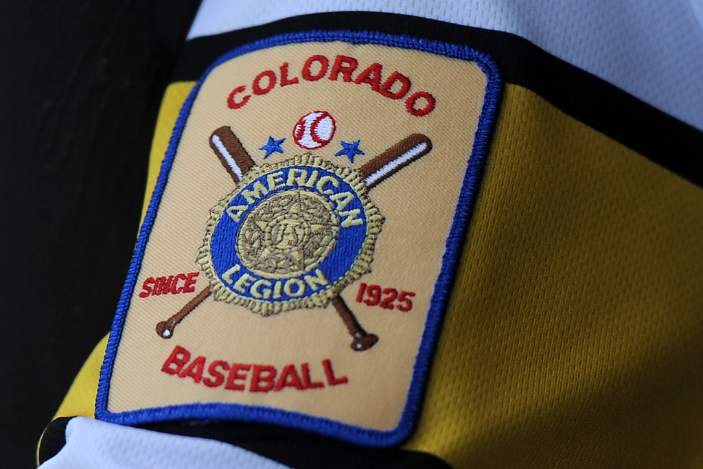 . An American Legion Baseball patch from Thompson Valley\'s game Thursday, July 20, 2018 at Constantz Field. (Sean Star/Loveland Reporter-Herald)