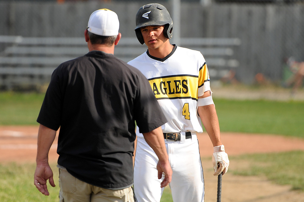 . Cameron Nellor (4) talks with coach Bruce Kelly during Thompson Valley�s game Thursday, July 19, 2018 at Constantz Field in Loveland. (Sean Star/Loveland Reporter-Herald)