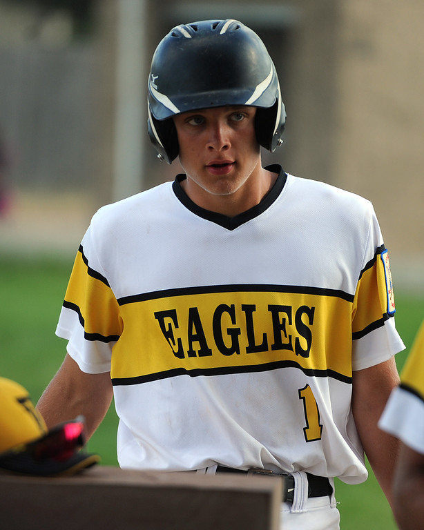 . Brock Nellor heads into the dugout during Thompson Valley�s game Thursday, July 19, 2018 at Constantz Field in Loveland. (Sean Star/Loveland Reporter-Herald)