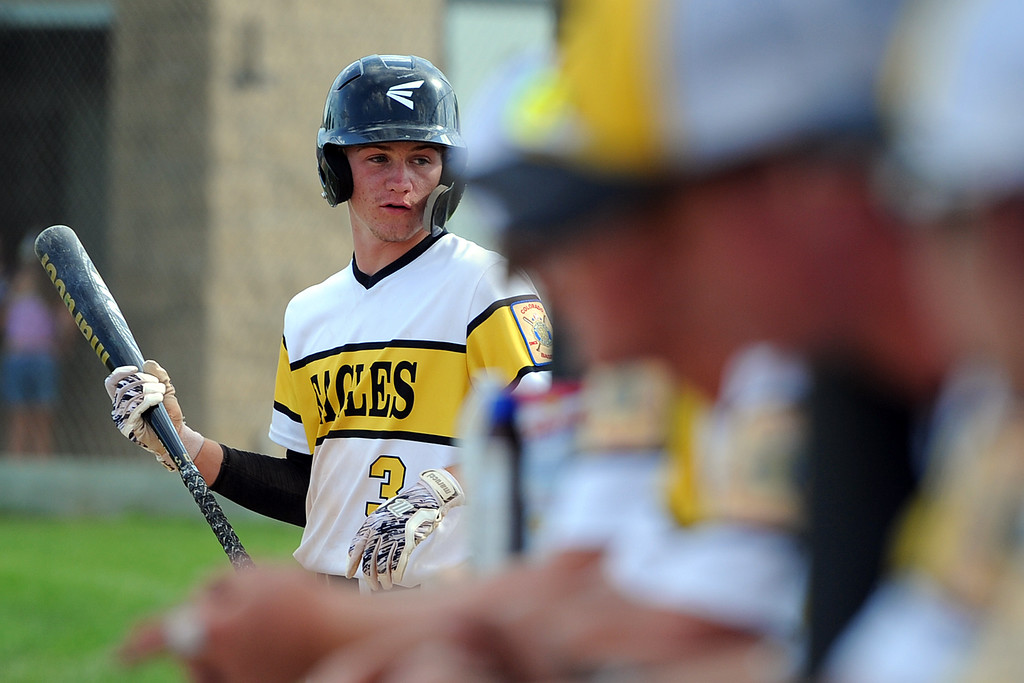 . Jarret Riehl waits on the on-deck circle during Thompson Valley�s game Thursday, July 19, 2018 at Constantz Field in Loveland. (Sean Star/Loveland Reporter-Herald)