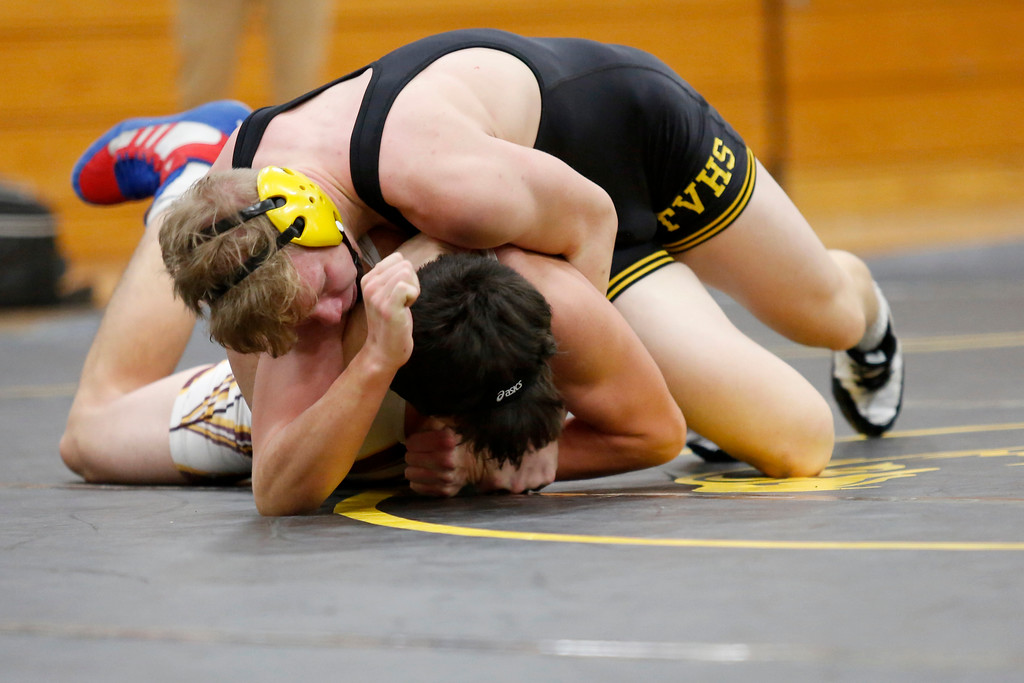 . Thompson Valley�s Tate Smack pins down Berthoud�s Wilson Rodgers during their 182 weight class match on Wednesday, Nov. 29, 2017, at the Thompson Valley gym in Loveland. (Photo by Lauren Cordova/Loveland Reporter-Herald)