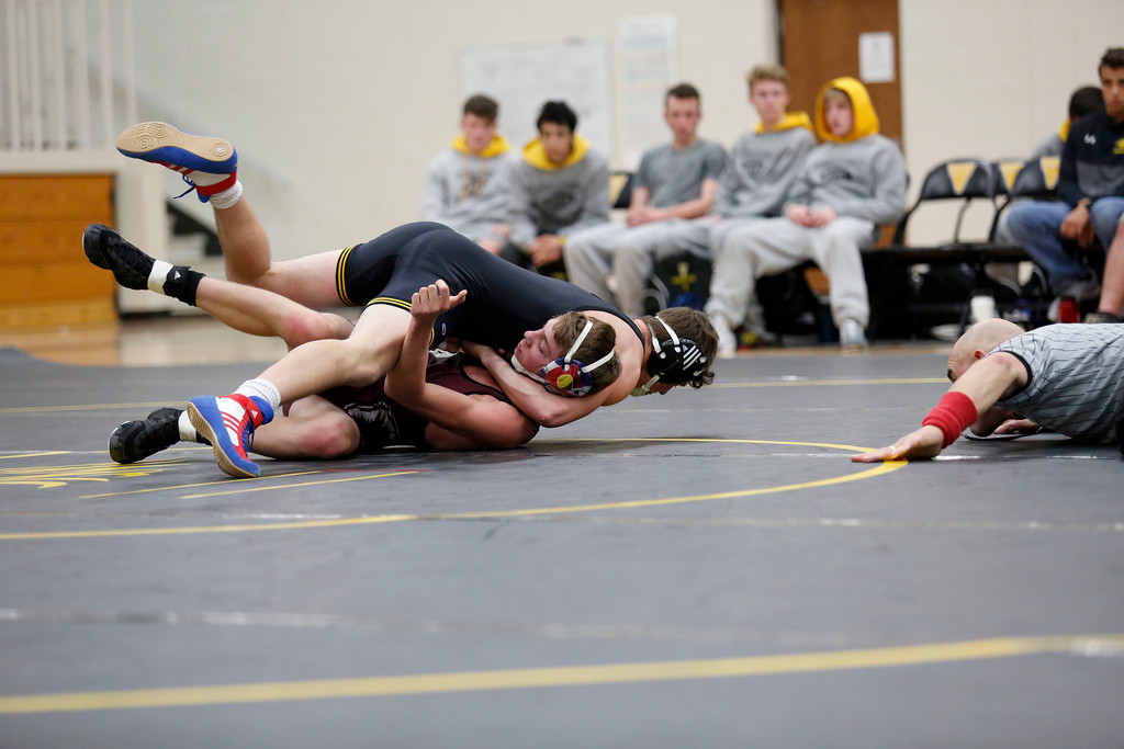 . Thompson Valley�s Aden Shaffer pins down Berthoud�s Kyle Conlon to win their 152 weight class match on Wednesday, Nov. 29, 2017, at the Thompson Valley gym in Loveland. (Photo by Lauren Cordova/Loveland Reporter-Herald)