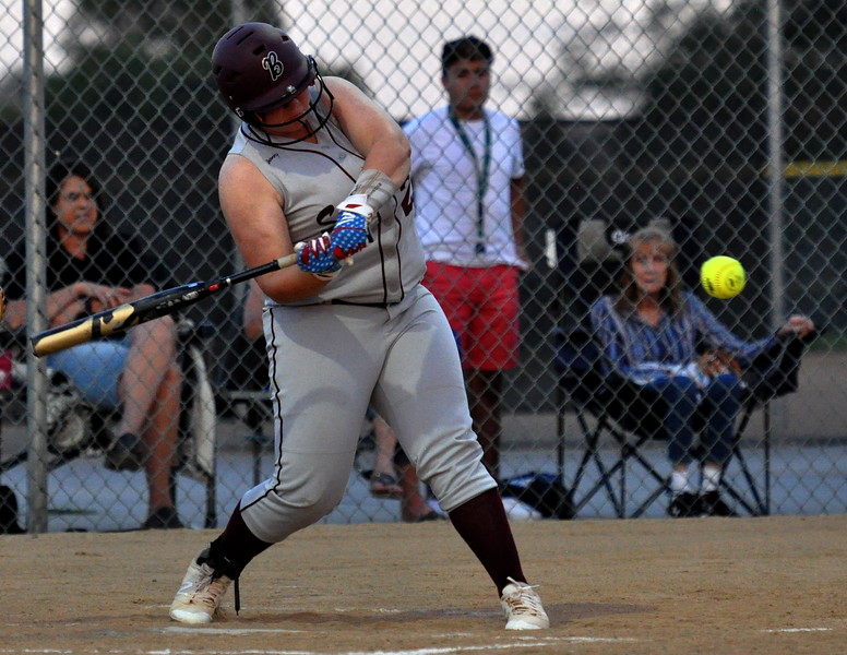 Berthoud's Ashlynn Balliet squares up a pitch for a double against Thompson Valley on Friday Aug. 25, 2017 at Centennial Park. (Cris Tiller / Loveland Reporter-Herald)