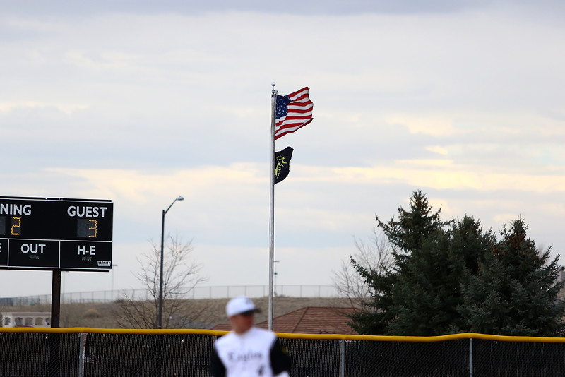 The flags in right center at Constantz Field blew straight all day as Thompson Valley and Silver Creek opened Northern Conference play Thursday. Javon Harris/Reporter-Herald