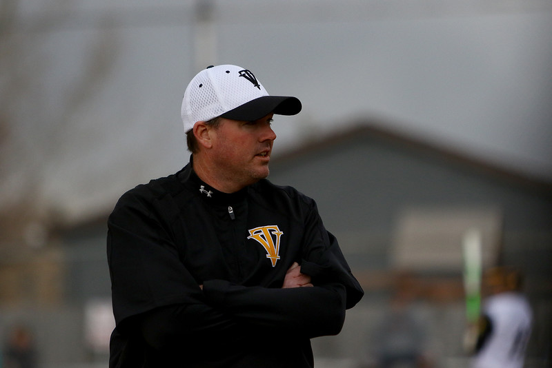 Thompson Valley coach Jay Denning eyes the action during Thursday's game with Silver Creek at Constantz Field. Javon Harris/Reporter-Herald