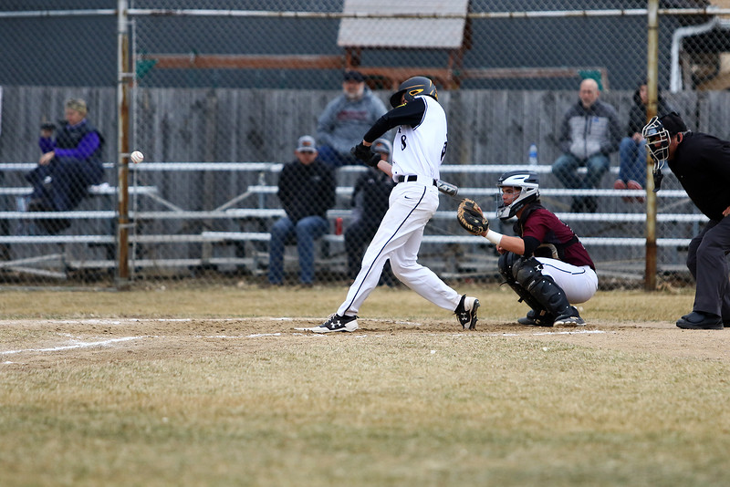 Thompson Valley's Austin Sobraske takes a cut during Thursday's game with Silver Creek at Constantz Field. Sobraske had a hit and drove in a run. Javon Harris/Reporter-Herald.