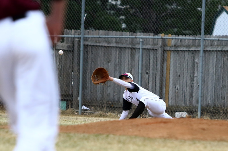 Thompson Valley first baseman Brock Nellor stretches out for an out during Thursday's game with Silver Creek at Constantz Field. Javon Harris/Reporter-Herald