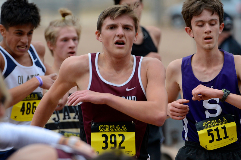 Berthoud's Cade Leonard finishes the 3A boys state championship on Oct. 28, 2017 at Norris Penrose Event Center in Colorado Springs. (Sean Star/Loveland Reporter-Herald)