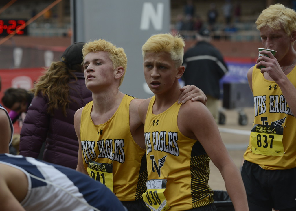 . Thompson Valley\'s Jacob Regalado and Hayden Ell finish the 4A boys state cross country championship on Saturday in Colorado Springs.