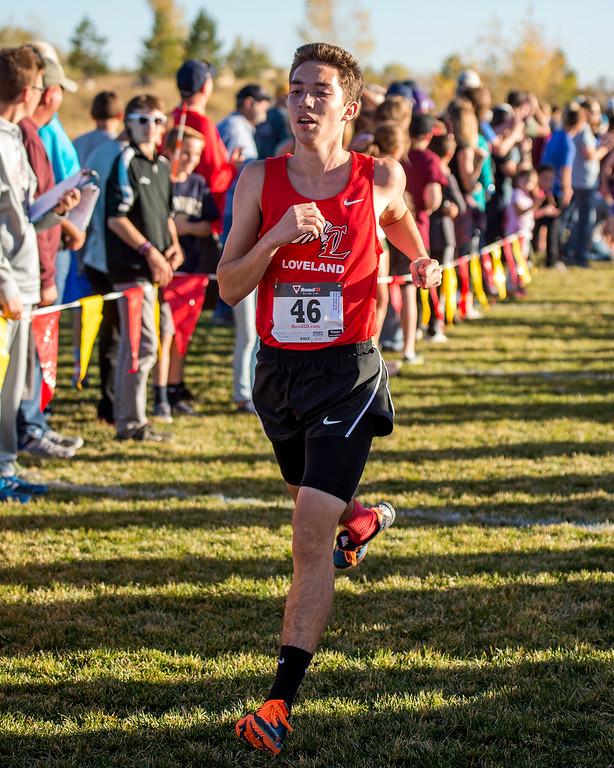 . Loveland\'s Alex Hershberger (46) finished the 2016 Colorado 5A Region 4 cross country meet Friday afternoon Oct., 21, 2016 in 7th place at Spring Canyon Park in Fort Collins. (Photo by Michael Brian/Loveland Reporter-Herald)