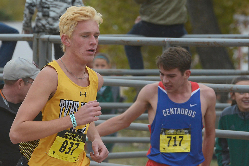 . Thompson Valley\'s Jacob Brouwer runs at the state cross country championships on Oct. 28, 2017 at Norris Penrose Event Center in Colorado Springs. (Sean Star/Loveland Reporter-Herald)