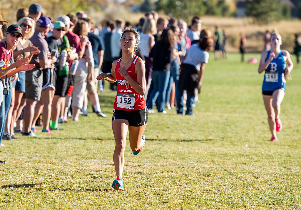 . Loveland\'s Callie Ketner (152) finishes strong in 18th place during the 2016 Colorado 5A Region 4 cross country meet Friday afternoon Oct., 21, 2016 at Spring Canyon Park in Fort Collins. (Photo by Michael Brian/Loveland Reporter-Herald)
