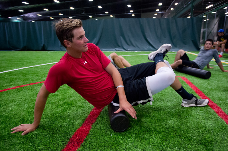 "Mitch Tyse stretches during a training session for the members of the Superior Roughriders collegiate baseball team at Sport Stable in Superior on Thursday.<br /> More photos:  <a href=""http://www.BoCoPreps.com"">http://www.BoCoPreps.com</a><br /> (Autumn Parry/Staff Photographer)<br /> June 16, 2016"