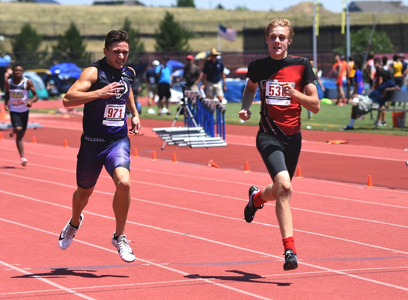 CDm Elite's Andrew Muncy competes in the 13-14 boys 400-meter dash during the USATF Region 10 Championships on Saturday at Legacy Stadium in Aurora.