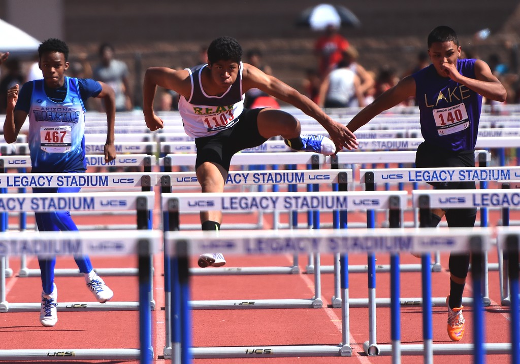 . R.E.A.L. Training\'s Gregory Anderson competes in the 110 hurdles during the USATF Region 10 Championships on Saturday at Legacy Stadium in Aurora.
