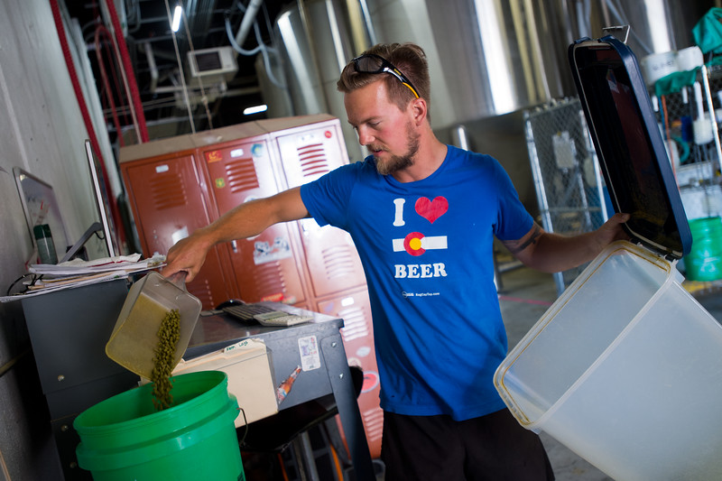 "Nate Luebbe, weighs hops before adding them to the kettle while brewing at Upslope Brewing Company in Boulder on Thursday.<br /> More photos:  <a href=""http://www.dailycamera.com"">http://www.dailycamera.com</a><br /> (Autumn Parry/Staff Photographer)<br /> July 20, 2016"