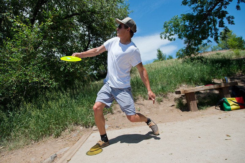 "Gavin Scharig throws the frisbee down the fairway during a game of disc golf at Valmont Park on Saturday. There will be a disc golf tournament on Sunday as part of the fifth anniversary celebration at Valmont Bike Park. <br /> More photos:  <a href=""http://www.dailycamera.com"">http://www.dailycamera.com</a><br /> (Autumn Parry/Staff Photographer)<br /> June 11, 2016"