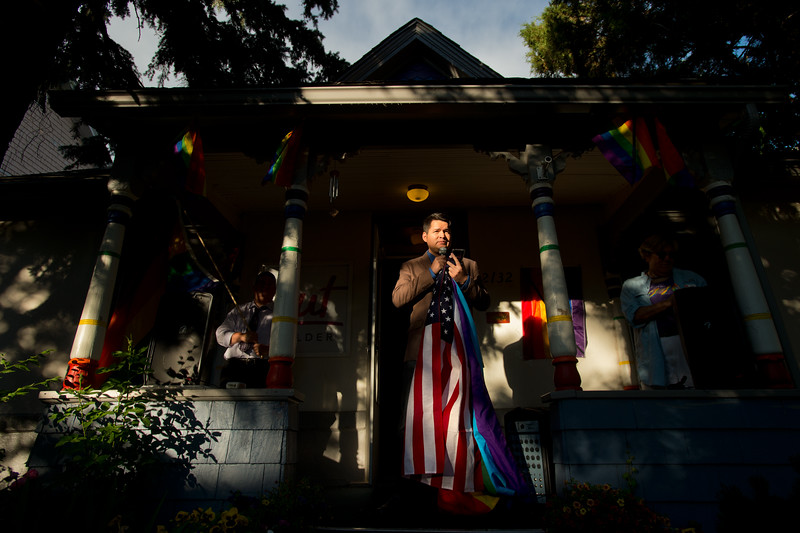 "Ray Rodriguez, a member of the board of directors for Out Boulder, speaks during a vigil held in Boulder for the victims of the mass shooting at the gay nightclub Pulse in Orlando, Fla. on Sunday.<br /> For more photos go to  <a href=""http://www.dailycamera.com"">http://www.dailycamera.com</a><br /> (Autumn Parry/Staff Photographer)<br /> June 12, 2016"