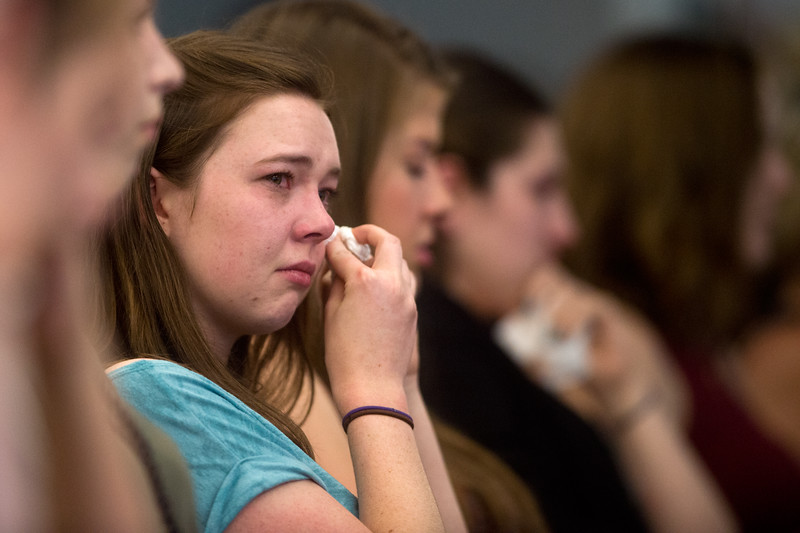 "Kelsey Leeburg wipes away tears during a vigil held for Sarah Ball and Peter Kim, who were both killed in a car accident on Sunday. <br /> More photos:  <a href=""http://www.dailycamera.com"">http://www.dailycamera.com</a><br /> (Autumn Parry/Staff Photographer)<br /> June 17, 2016"