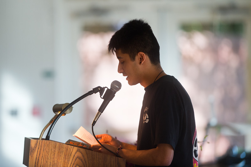 "Julio Lemos talks about his ex-girlfriend, Sarah Ball, during a vigil held  at the East Boulder Community Center on Friday. Peter Kim and Sarah Ball were both victims of a fatal car accident on Sunday.<br /> More photos:  <a href=""http://www.dailycamera.com"">http://www.dailycamera.com</a><br /> (Autumn Parry/Staff Photographer)<br /> June 17, 2016"