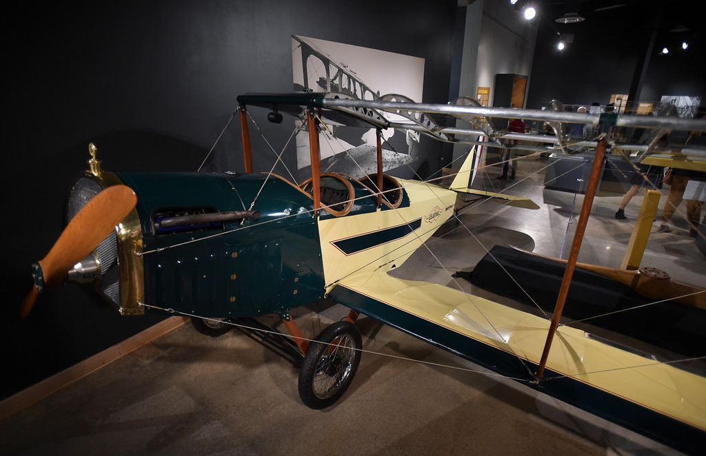 ". The replica World War I-era biplane on display during opening night of ""WW I: Longmont & at the Great War\"" Friday night at the Longmont Museum & Cultural Center, 400 Quail Rd. The exhibit runs through May 13. To view more photos visit timescall.com. Lewis Geyer/Staff Photographer Feb. 02, 2018"