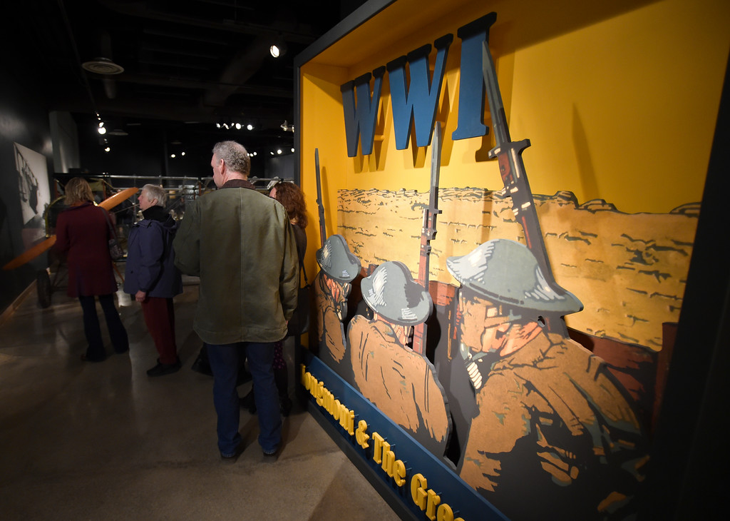 ". Opening night of ""WW I: Longmont & at the Great War\"" Friday night at the Longmont Museum & Cultural Center, 400 Quail Rd. The exhibit runs through May 13. To view more photos visit timescall.com. Lewis Geyer/Staff Photographer Feb. 02, 2018"