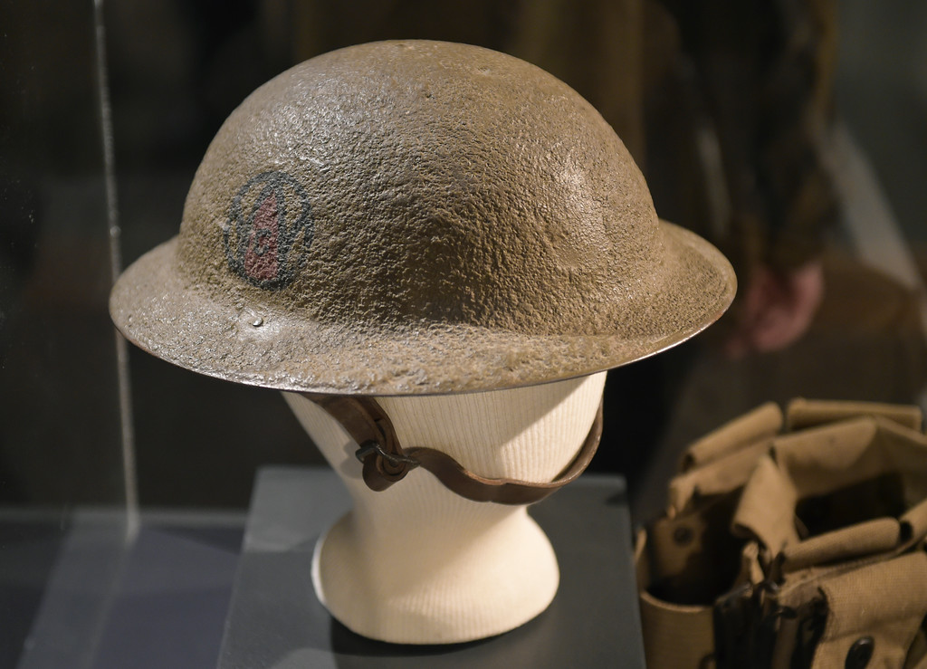 ". A helmet displayed opening night of ""WW I: Longmont & at the Great War\"" Friday night at the Longmont Museum & Cultural Center, 400 Quail Rd. The exhibit runs through May 13. To view more photos visit timescall.com. Lewis Geyer/Staff Photographer Feb. 02, 2018"