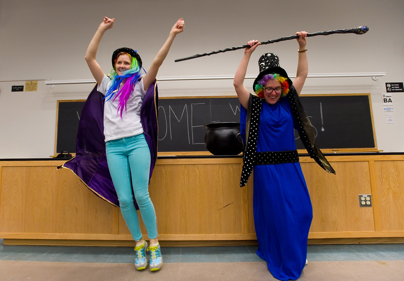 "Lauren Shuler and Candice Owen dance as they begin the presentation, ""Water Wizards"" during the Water Festival at CU Boulder.<br /> More photos:  <a href=""http://www.dailycamera.com"">http://www.dailycamera.com</a><br /> Autumn Parry/Staff Photographer<br /> May 11, 2016"
