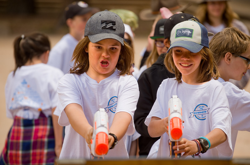"Ethan Johnson and Eric Olson, from Nederland Elementary, shoot water guns into a rain gauge during a hands-on activity held by Citizen Science at the during the Water Festival.<br /> More photos:  <a href=""http://www.dailycamera.com"">http://www.dailycamera.com</a><br /> Autumn Parry/Staff Photographer<br /> May 11, 2016"