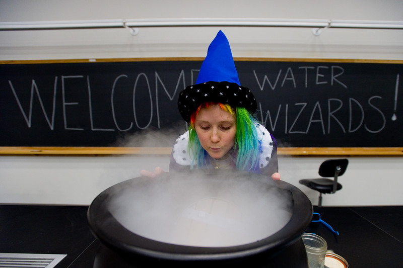 "Lauren Shuler, a water engineer with the city of Boulder, prepares the cauldron for the presentation, ""Water Wizards,"" during the Water Festival at CU Boulder on Wednesday.<br /> More photos:  <a href=""http://www.dailycamera.com"">http://www.dailycamera.com</a><br /> Autumn Parry/Staff Photographer<br /> May 11, 2016"