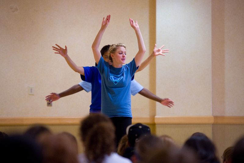 "Kayla Mally, a student with Metropolitan State University of Denver, performs the play ""Water Wise Circa 2016"" with fellow actors for fifth graders, during the Water Festival at CU Boulder on Wednesday.<br /> More photos:  <a href=""http://www.dailycamera.com"">http://www.dailycamera.com</a><br /> Autumn Parry/Staff Photographer<br /> May 11, 2016"