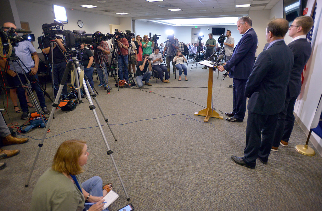 . GREELEY, CO - AUGUST 20: Weld County district attorney Michael Rourke speaks during a press conference Aug. 20, 2018 announcing the charges against Christopher Watts. Watts is suspected of murdering his pregnant wife and two daughters.  (Photo by Lewis Geyer/Staff Photographer)