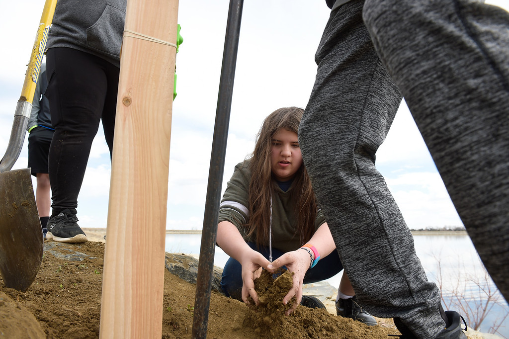 . LONGMONT CO - MARCH 19: Westview Middle School seventh grader Samantha Hall tosses dirt into a post hole for a fishing line collection tube at Lagerman Reservoir March 19, 2019. A total of three  collection tubes will be along the north shore. To view more photos visit timescall.com. (Photo by Lewis Geyer/Staff Photographer)