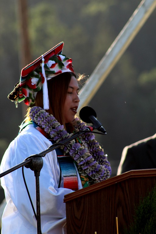 . Daisy Barrett for The Willits News 2018 Senior Class President Yotzil Patino addressed her peers, relatives and the community at graduation ceremonies held Thursday at Willits  High School