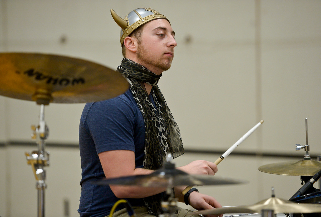 . Mead senior Robert McKenna rehearses Thursday afternoon for the Winter Percussion Drumline competition at Longmont High Saturday. To view more photos visit timescall.com. Lewis Geyer/Staff Photographer March 29, 2018