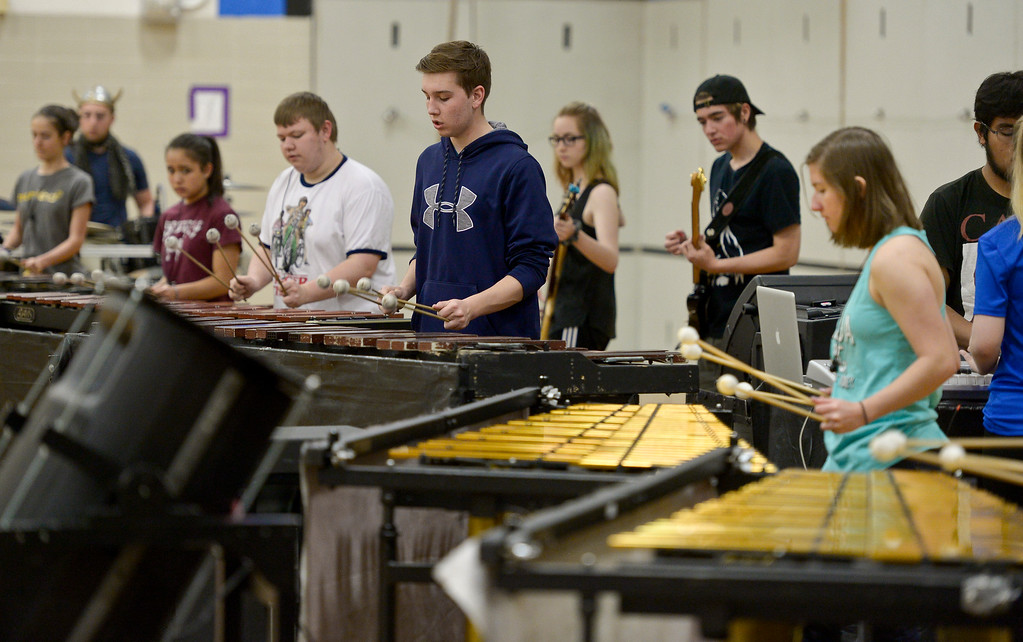 . The Longmont High School drumline rehearses Thursday afternoon for the Winter Percussion Drumline competition at Longmont High Saturday. To view more photos visit timescall.com. Lewis Geyer/Staff Photographer March 29, 2018