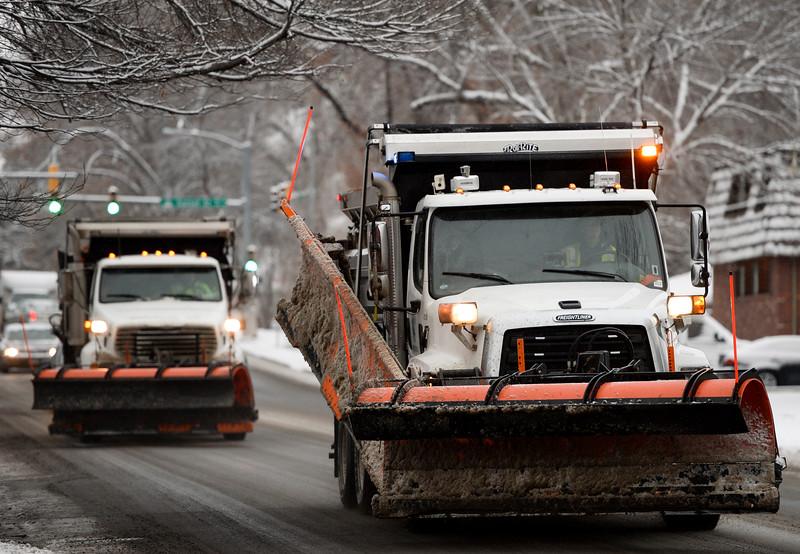 City of Longmont snow plows travel east on Ninth Avenue, near Vivian Street, Monday morning. <br /> Lewis Geyer/Staff Photographer Feb. 1, 2016