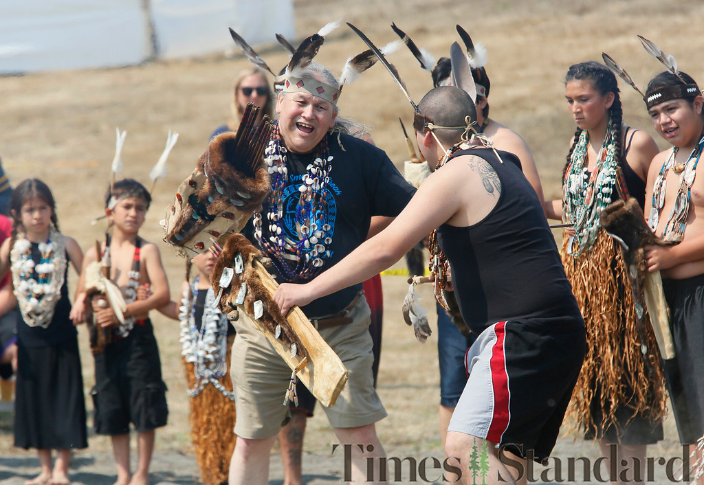 ". Shaun Walker � The Times-Standard  Gary Markusson Sr., left, and William ""Sonny\"" Frank IV dance at Wiyot Day 2018 on Saturday. The Wiyot Tribe hosts the event annually to provide an opportunity for the community to come together and celebrate Wiyot culture, and to honor elders and veterans. The event was held at Table Bluff Reservation in Loleta and featured dance and cultural demonstrations, a stick game, card game tournament, fresh local wild Chinook salmon dinner, live music, games for kids, and vendors."