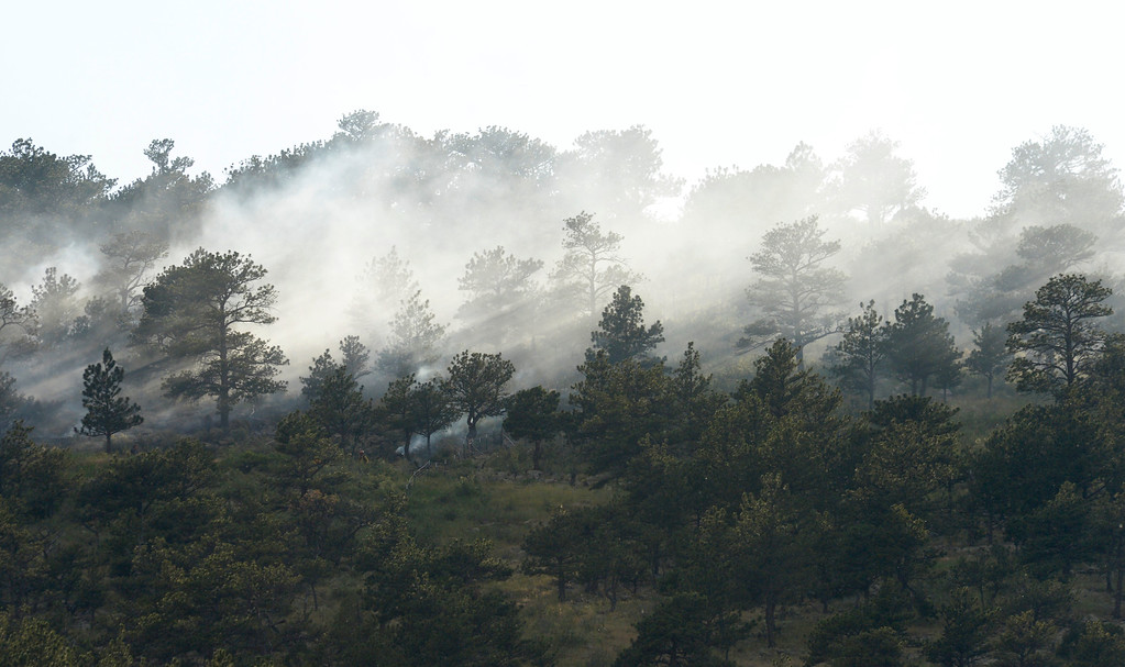. Smoke rises from a woodland fire in a neighborhood west of Rabbit Mountain near Lyons Friday evening. Lewis Geyer/Staff Photographer June 15, 2018