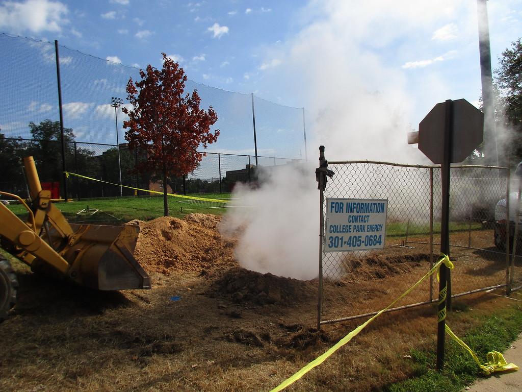 Damage from undergound steam line leak.