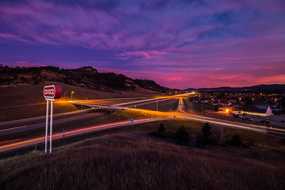 Sunset over I-90 at Spearfish