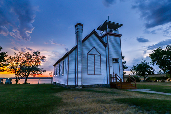 Sunset over the Oahe Chapel