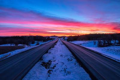 Sunrise over I-90 near Spearfish