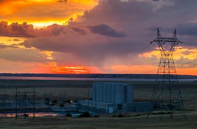 Sunset over Oahe Dam
