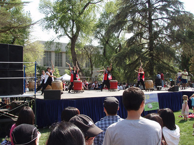 a japanese drum show on the main stage.there were about five different stages set up around campus.