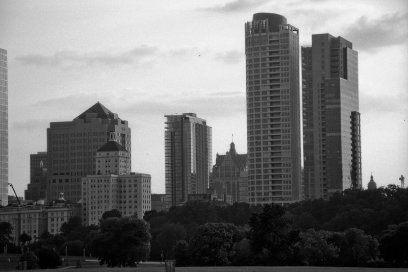 Milwaukee Cityscape on Black and White 35mm Film Photograph 29