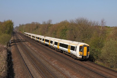 375923+375828 on the 1S28 1037 London Victoria to Ramsgate at Swanley on the 8th April 2017
