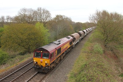 66103 on a diverted 6M60 Newport Adj to Bescot at Hatton on the 14th April 2017