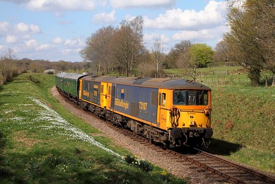 73107+73119 on the 1315 East Grinstead to Sheffield Park at Freshfield on the 2nd April 2017, swapping diagrams with 50049